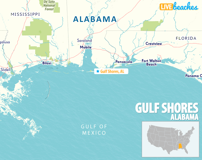 Gulf Coast Map Map of Gulf Shores, Alabama   Live Beaches Gulf Coast Map