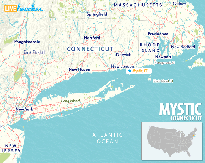 Map of Mystic, Connecticut - Live Beaches
