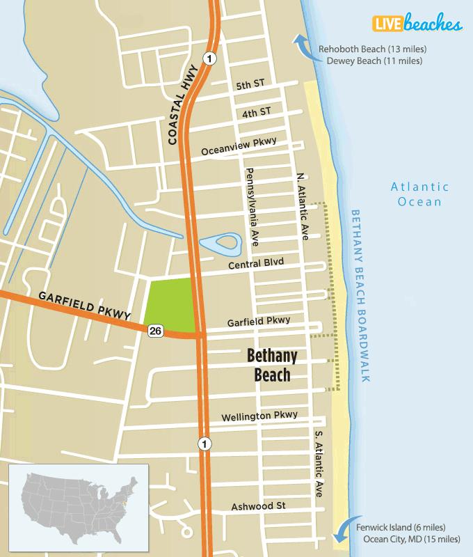 Map of Boardwalk Bethany Beach, Delaware