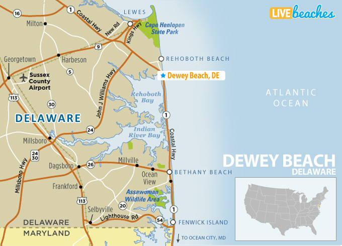 Map Of Delaware Beaches Map of Dewey Beach, Delaware   Live Beaches