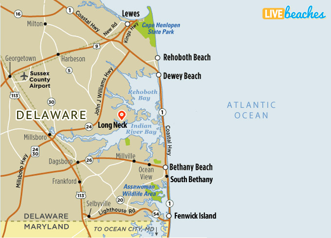 Map of Long Neck, Delaware - Live Beaches Delaware Map on