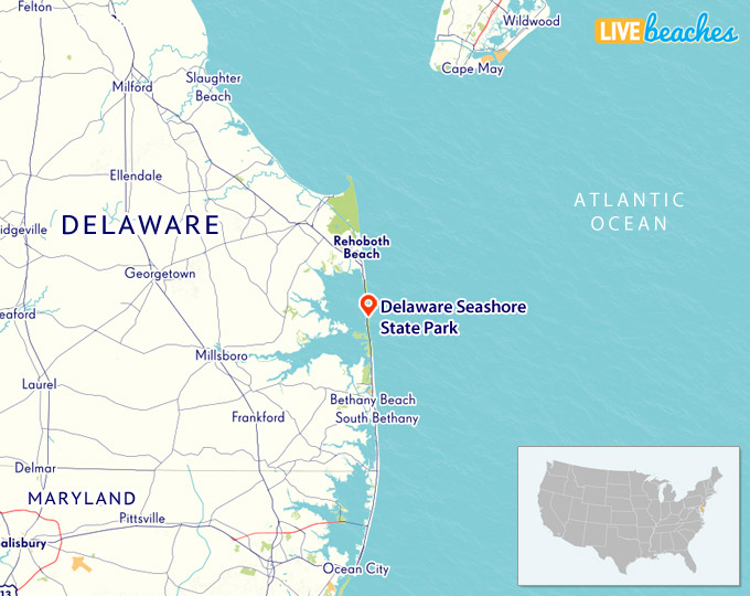 delaware seashore state park map Map Of Delaware Seashore State Park Live Beaches delaware seashore state park map