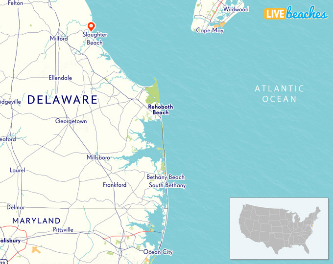 Map of Slaughter Beach, Delaware - Live Beaches Deleware Map on