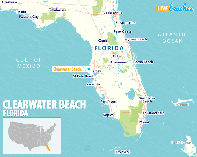 Map of Clearwater Beach, Florida - Live Beaches Clearwater Beach Fl Map on