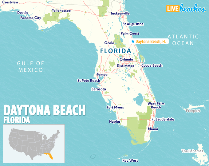 Map of Daytona Beach, Florida - Live Beaches