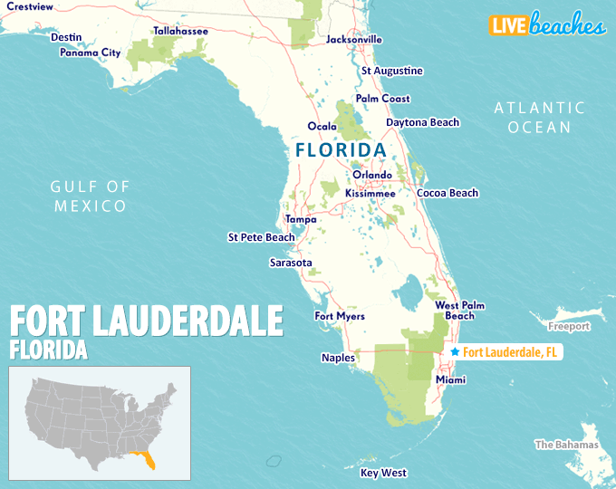 Ft Lauderdale On Map Of Florida.Map Of Fort Lauderdale Florida Live Beaches