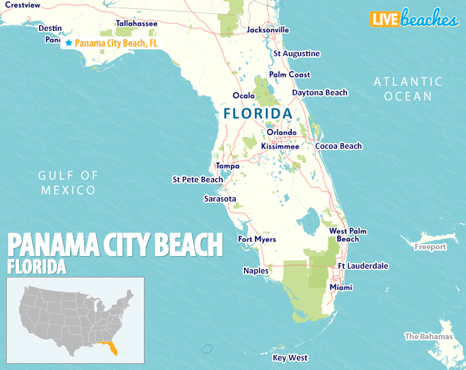 Map of Panama City Beach, Florida - Live Beaches Flrida Map on