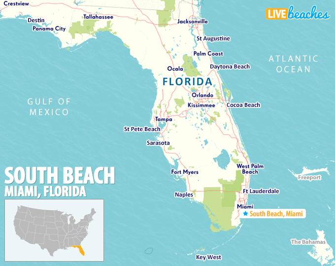 Map Of South Beach Miami Map of South Beach, Miami   Live Beaches