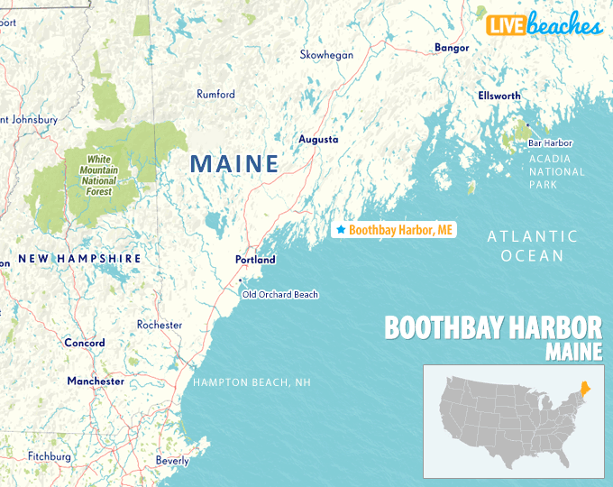 Map of Boothbay Harbor, Maine   Live Beaches