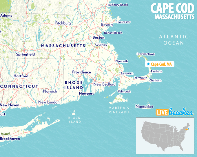 Map of Cape Cod, Massachusetts - Live Beaches
