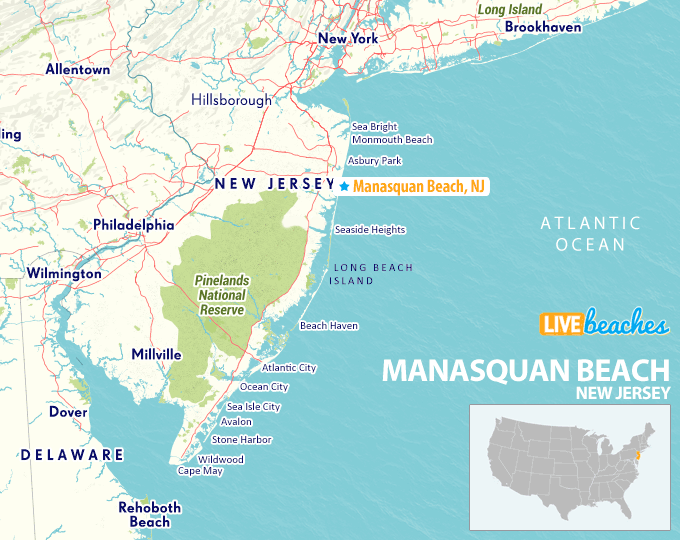 Map of Manasquan Beach, New Jersey - Live Beaches