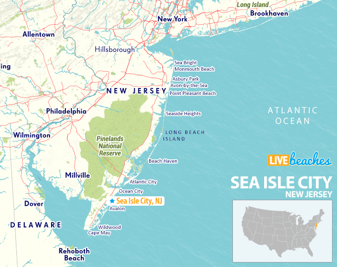 Map Of Sea Isle City Nj Map of Sea Isle City, New Jersey   Live Beaches