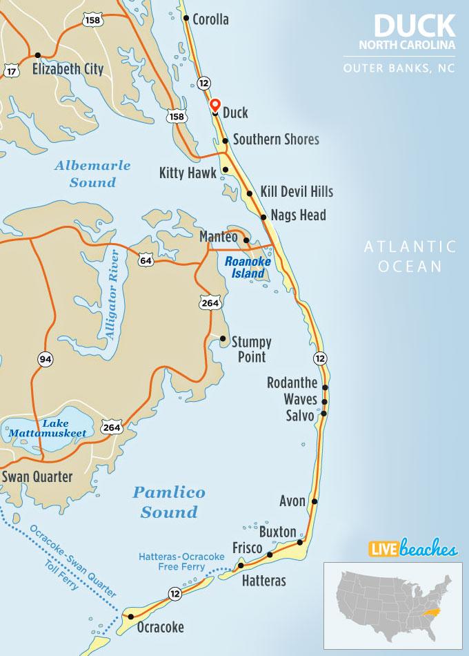 Map of Duck, North Carolina, Outer Banks - LiveBeaches.com