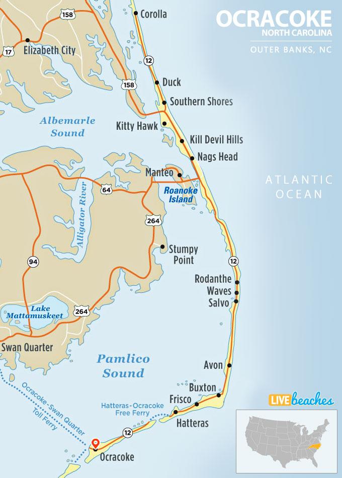 map of ocracoke island north carolina live beaches