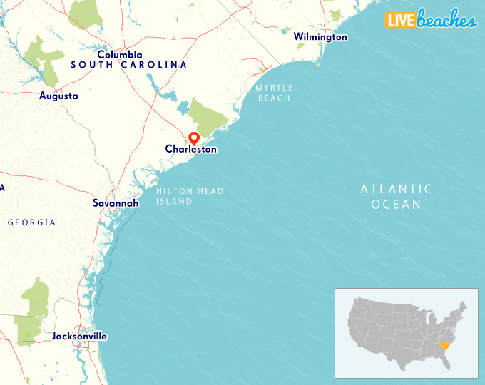Map of Charleston, South Carolina - Live Beaches Charleston Sc Beaches Map on