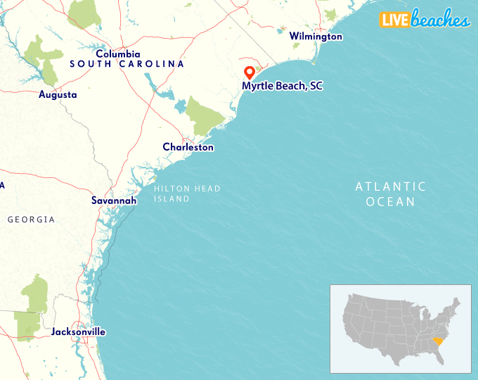Sc Beaches Map Map of Myrtle Beach, South Carolina   Live Beaches Sc Beaches Map