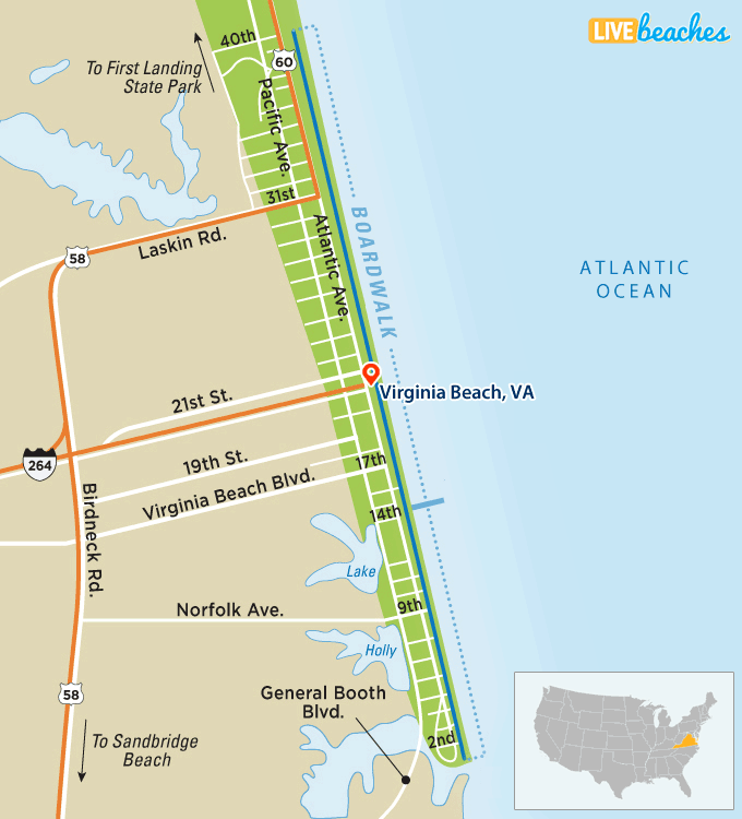 Map Of Virginia Beach Boardwalk
