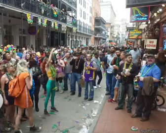 Mardi Gras on Bourbon Street in New Orleans