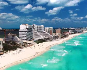 Aerial Tour of Cancun, Caribbean Islands, Resort Beach Vacation
