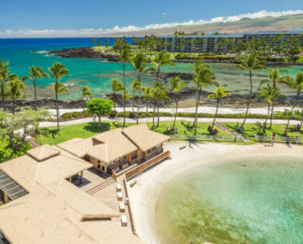 Live webcam Waiulua Bay and Kohala Mountain Lagoon Tower Hilton Waikoloa Village