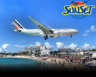 Airport Runway Live Cam from Sunset Beach Bar, Maho Beach, St Martin
