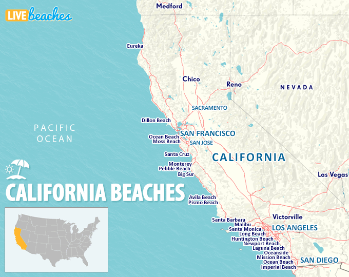 Map of California Beaches - LiveBeaches.com