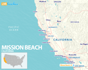 Map of Mission Beach San Diego California - LiveBeaches.com