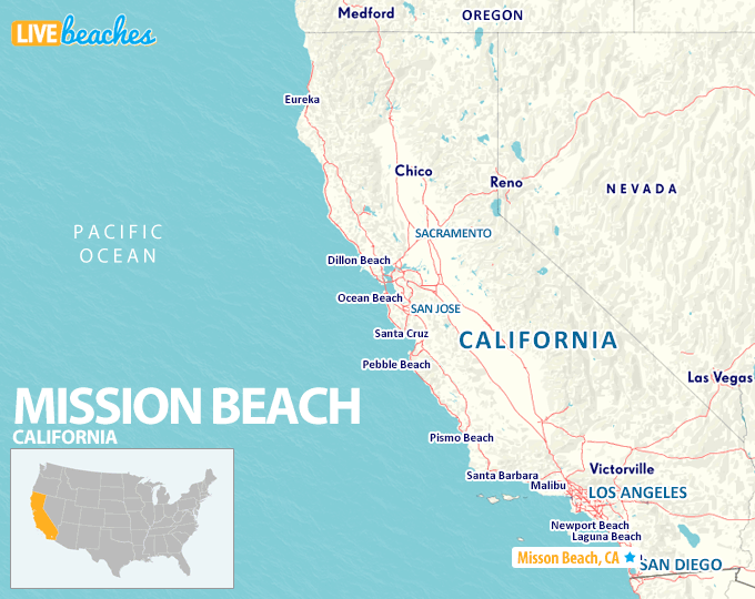Map of Mission Beach San Diego California - LiveBeaches.com