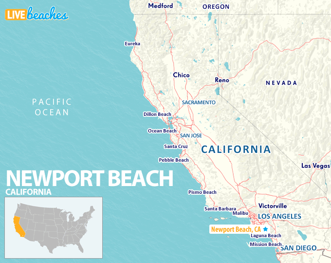 Map of Newport Beach California - LiveBeaches.com