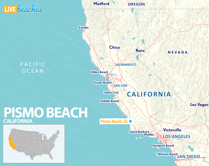 Map of Pismo Beach, California - LiveBeaches.com