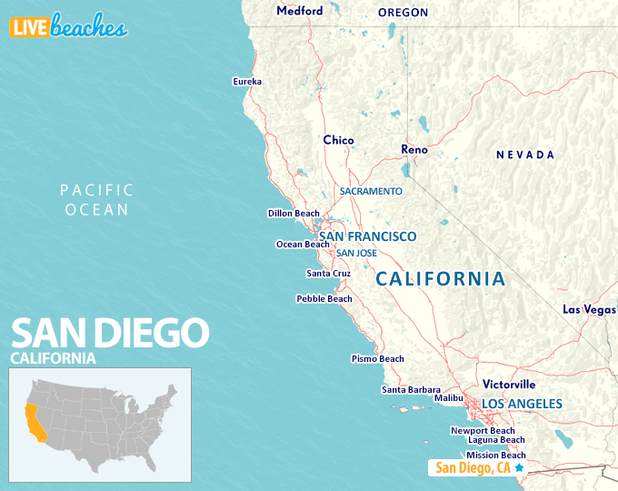 Map of San Diego, California - LiveBeaches.com