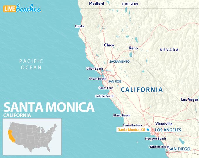 Map of Santa Monica, California - LiveBeaches.com