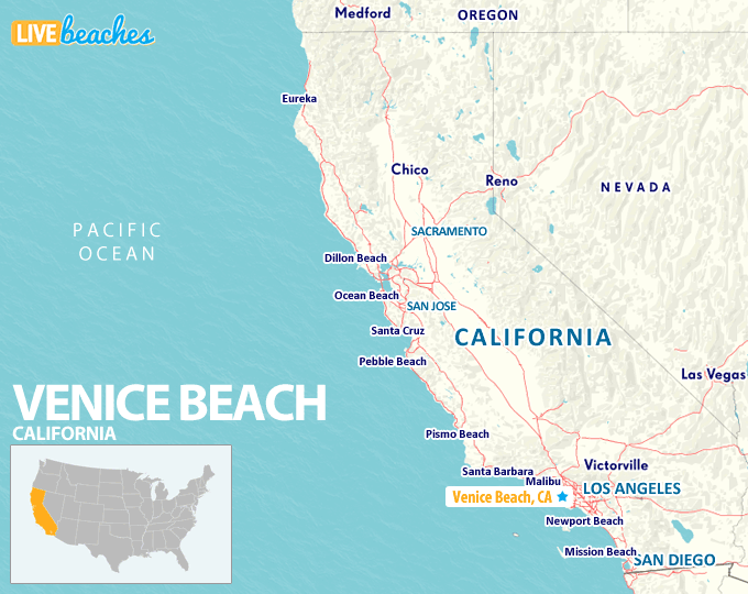 Map of Venice Beach, California - LiveBeaches.com