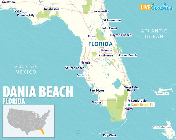 Beaches In Florida Map Map of Dania Beach, Florida   Live Beaches