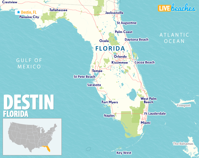 Map of Destin, Florida - LiveBeaches.com