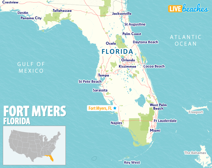Fort Myers On Florida Map Map of Fort Myers, Florida   Live Beaches