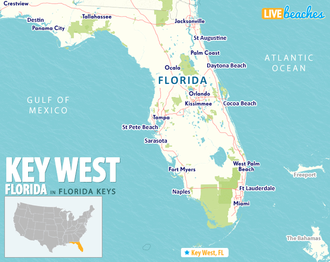 Florida Map Key West Map of Key West, Florida   Live Beaches