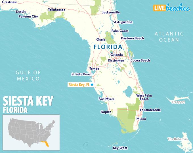 Map of Siesta Key, Florida - LiveBeaches.com