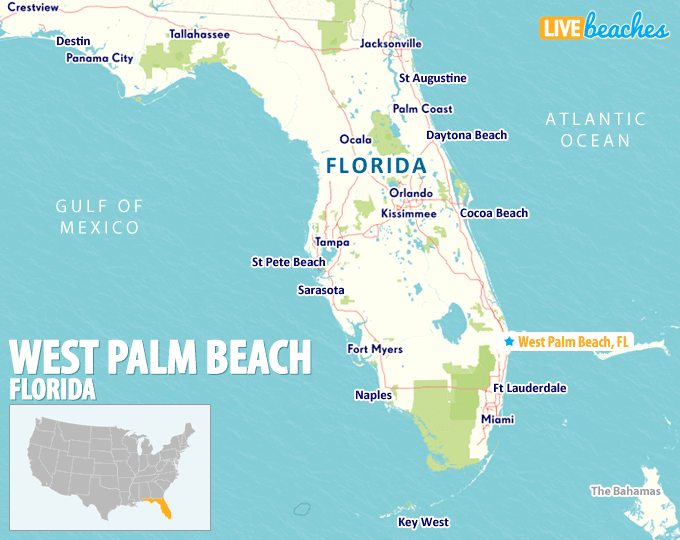 Beaches In Florida Map Map of West Palm Beach, Florida   Live Beaches