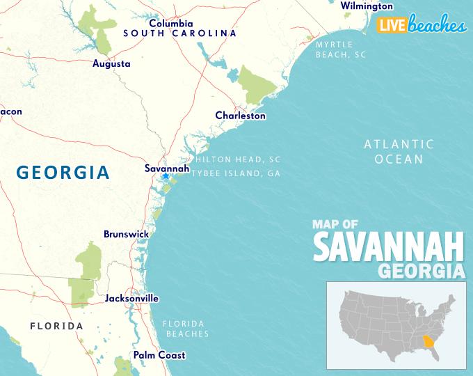 Map Of Savannah Georgia Live Beaches