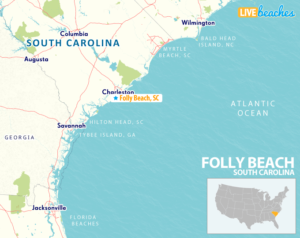 Map of Folly Beach, South Carolina - LiveBeaches.com