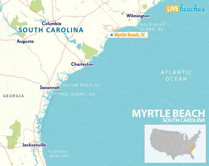 Map Of Georgia And South Carolina Coast.Map Of Myrtle Beach South Carolina Live Beaches