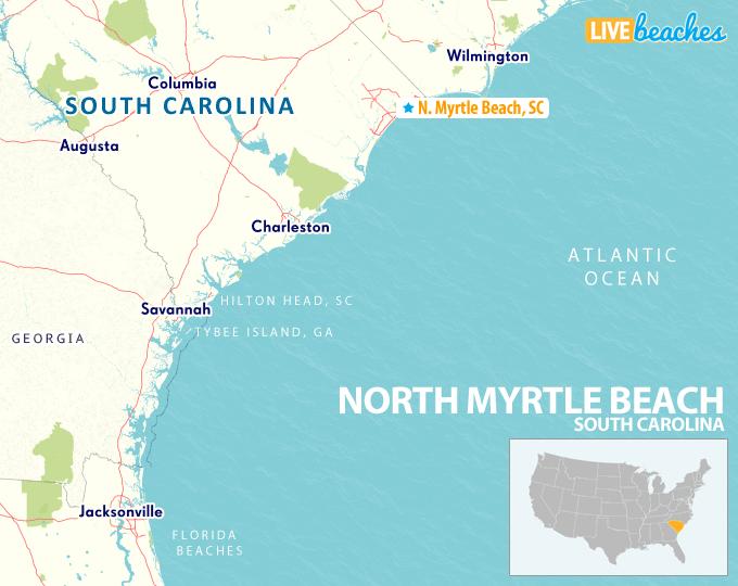 Map of North Myrtle Beach, South Carolina - LiveBeaches.com