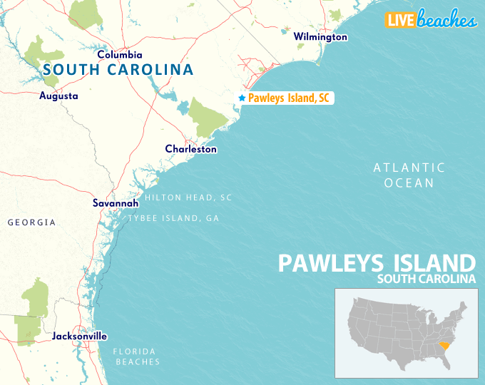 Map of Pawleys Island, South Carolina - LiveBeaches.com