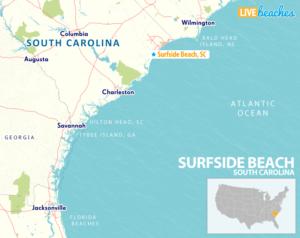 Map of Surfside Beach, South Carolina - LiveBeaches.com