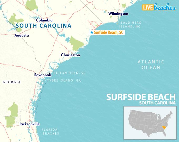 surfside beach south carolina map Map Of Surfside Beach South Carolina Live Beaches