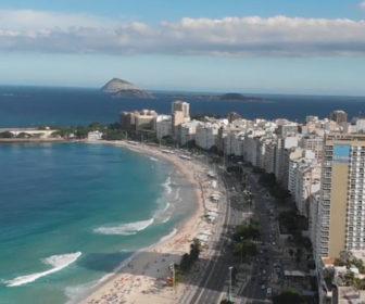 Aerial Video Highlights Copacabana Beach Rio de Janeiro