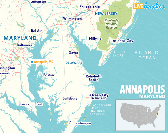 Annapolis MD Map - LiveBeaches.com