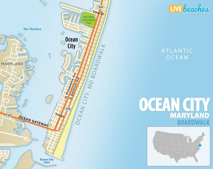 Ocean City, MD Boardwalk Map - LiveBeaches.com