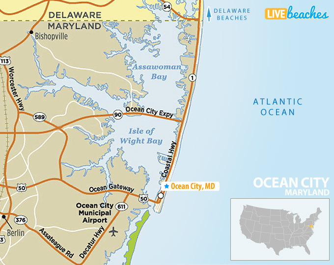 city map of maryland Map Of Ocean City Maryland Live Beaches city map of maryland